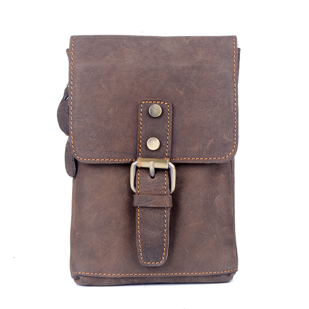 2016 HOT sale natural genuine leather men messenger bag crazy horse leather  men casual mini shoulder bag waist bag cellphone bag a91b1e011734b