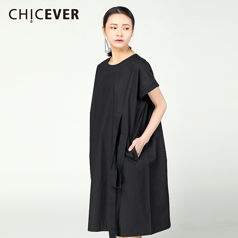 CHICEVER Black Dress Female O Neck Short Sleeve Ribbon Loose Big Sieze Summer Dresses For Women 2018 Fashion Casual Clothes New