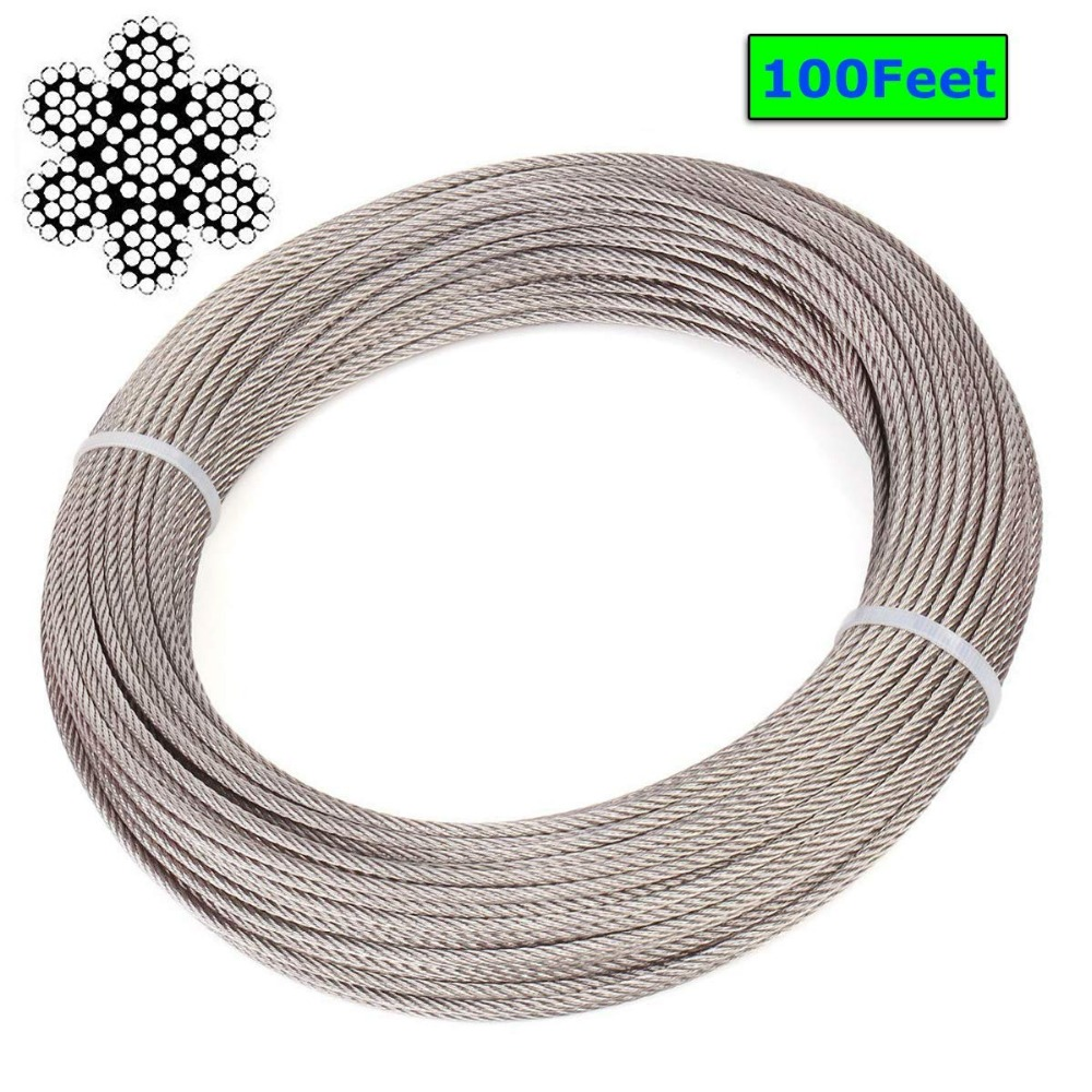 1/8 Inch 316 Stainless Steel Aircraft Wire Rope for Deck Cable Railing Kit,7x19 328 Feet 100M1/8 Inch 316 Stainless Steel Aircraft Wire Rope for Deck Cable Railing Kit,7x19 328 Feet 100M