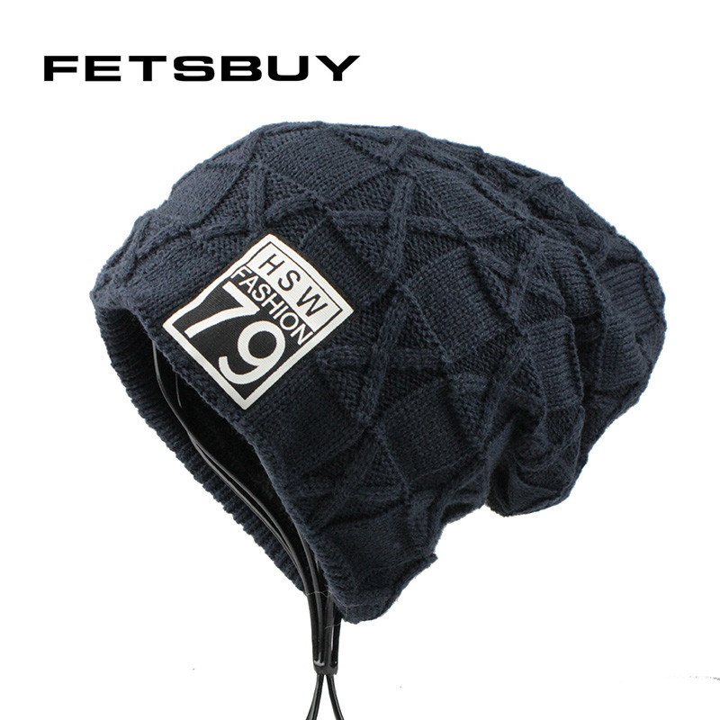 FETSBUY 2017 Autumn And Winter Bonnets Hat For Men Women Knitted Plaid Beanies Skullies Keep Warm Add Velvet Caps Men Bonnet