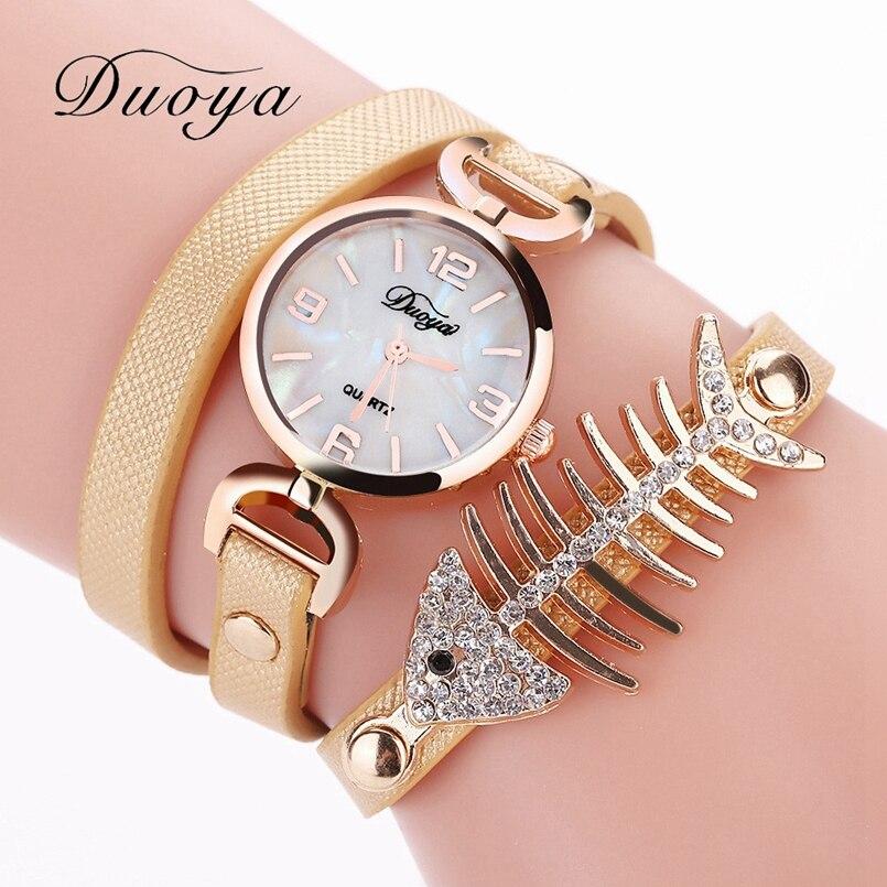 Brand New Duoya Watches Women Brand Gold Heart Luxury Leather Wristwatches Women Dress Bracelet Chain Bracelet Watch July19