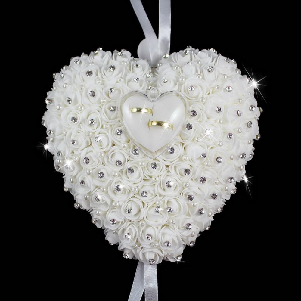 Bröllop favoriserar Häng Ring Pillow Med Transprent Box Hjärta - Semester och fester - Foto 6