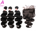 "7A Brazilian Body Wave 5x5"" Lace Closure With Bundles Brazilian Virgin Hair Body Wave 3 Bundles With Closure Cara Hair Products"