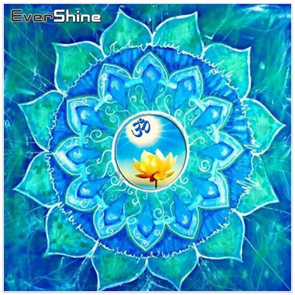 EverShine Diamond Broderi Full Square Kit Mandala Diamond Maleri Blomstermønster Diamond Mosaic Sale Hobby Wall Decor
