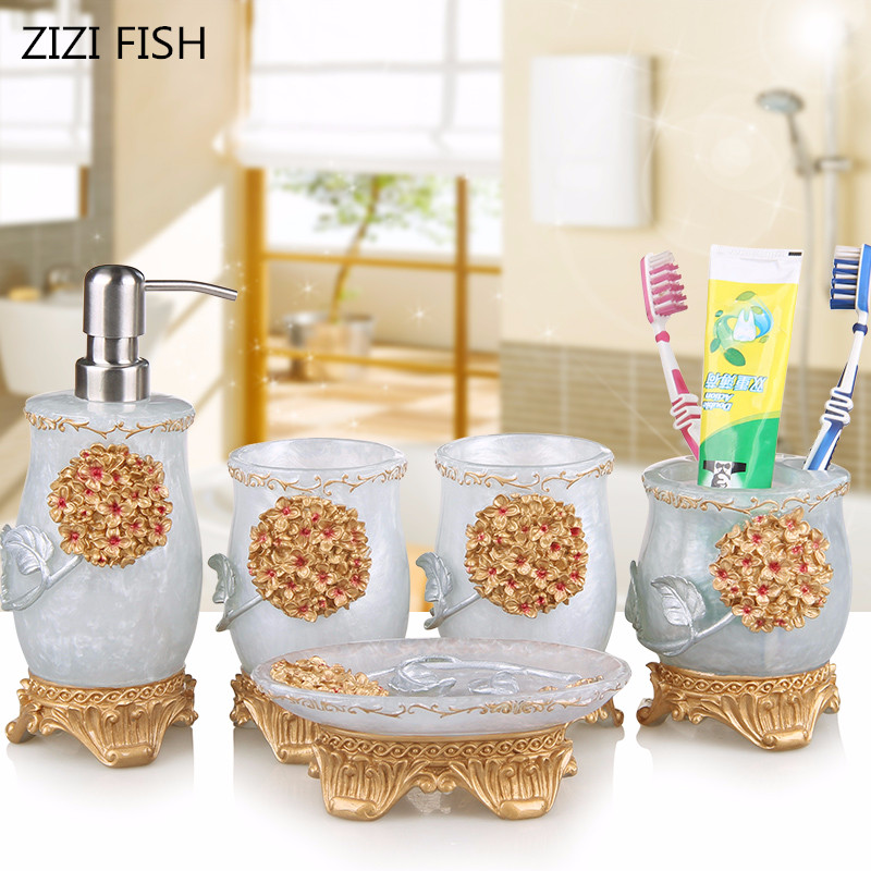 5pcs Wedding Bathroom Set Resin Accessories Soap Dispenser Toothbrush Holder Tumbler Dish Products