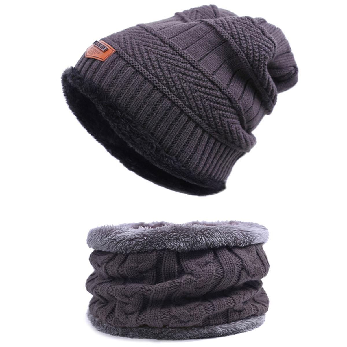 Evrfelan, комплект из двух предметов, зимняя шапка и шарф для мужчин, зимние шапочки, шарфы, мужские зимние комплекты, толстый хлопок, теплые зимние аксессуары - Цвет: C