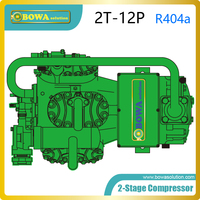 2 stage R404a compressor with throttle valve and partial cooled intercooler is installed into ultra low freezer plant (S4G12.2Y)
