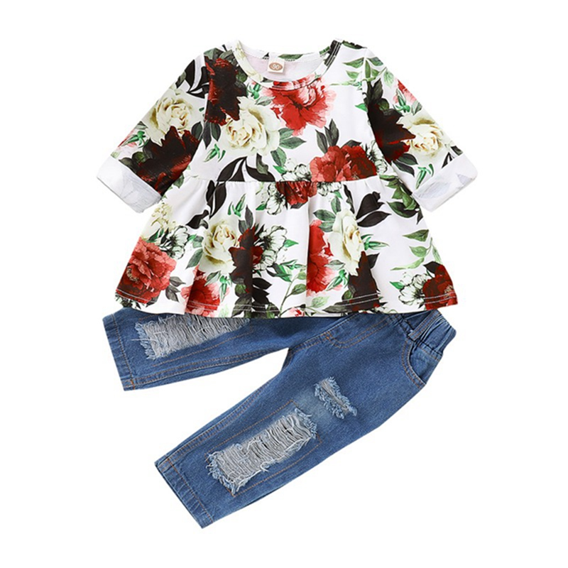 Toddler Baby Girl Summer Outfits Floral Shirt Ruffle Tops Ripped Denim Shorts Set