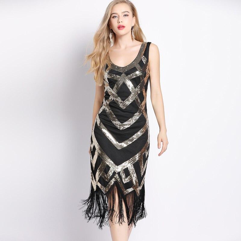 women 1920s vintage sleeveless crisscross fringe sequin
