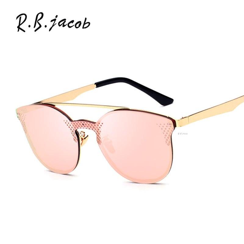 Cat Eye Sunglasses Women Mirror Brand Designer Sun glasses Lady Eyewear Good Quality Female Cateye Rimless Metal Frame