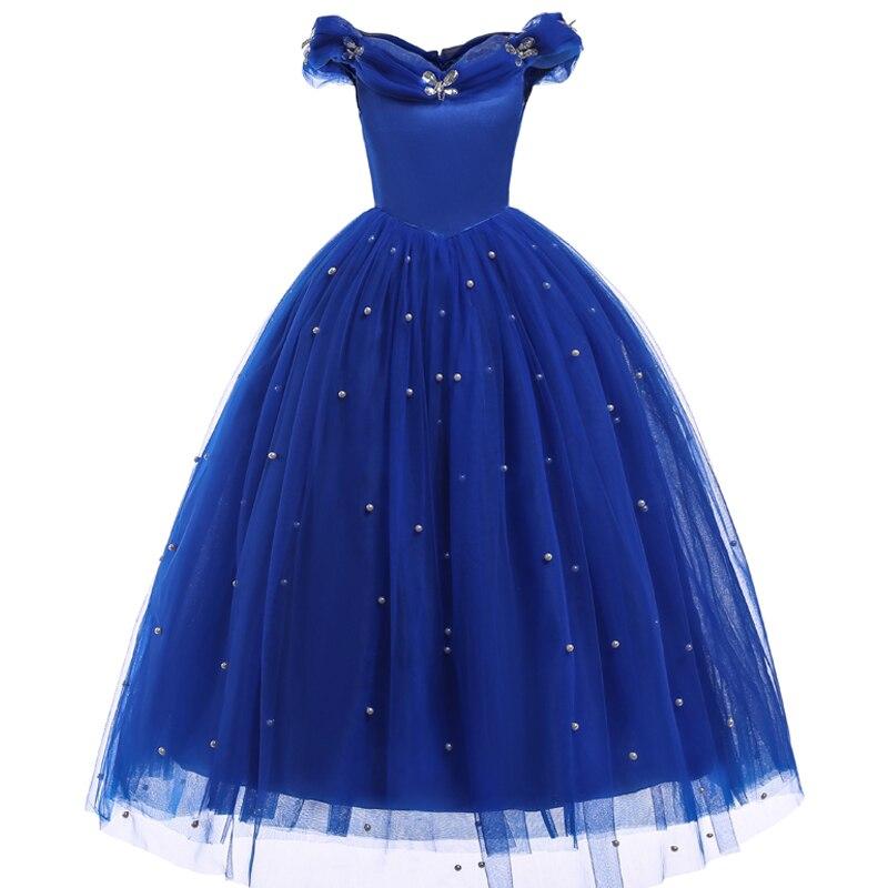 2018-Summer-Cinderella-Princess-girls-dress-Blue-Long-Shoulderless-dresses-Kids-Party-dress-birthday-girl-party (3)