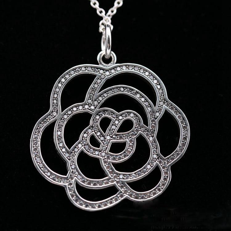 Совместимость с европейской мерцающий розовое ожерелье authertic стерлингового серебра 925 DIY CZ делая Оптовая