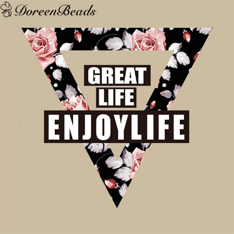 DoreenBeads PET Appliques Triangle Message Pattern Patches DIY Cloth Printed Iron-On Dress Decorate Accessory, 1 PC