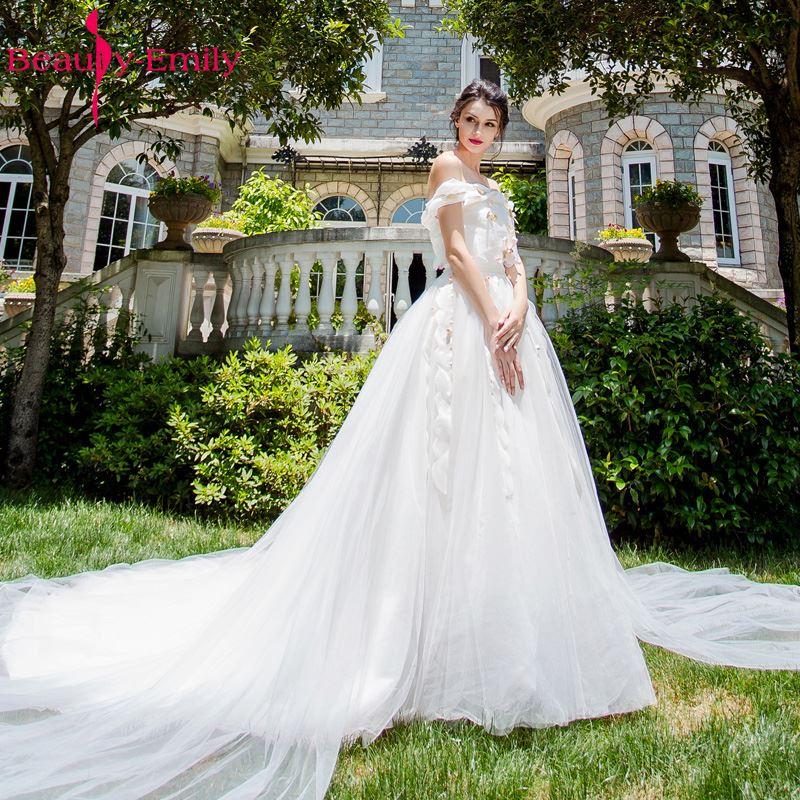 Beauty Emily White A Line Wedding Dresses 2017 Sleeveless Boat Neck ...