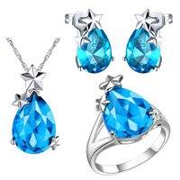 Plated NEW Set Of 925 Sterling Silver Custom Star Set Pendant Ear Ring Semi Precious Stones