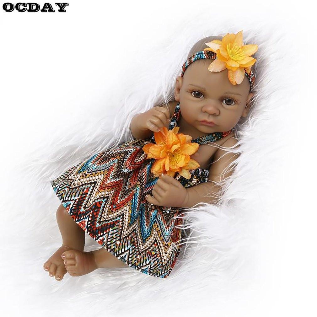 10 Inch Reborn Baby Doll Toys Black Lifelike Baby Boys Girls Bathing Doll Full Body Soft Silicone Playmate Toys Gift for Kids