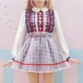 Full sleeve fake two pieces dresses Kawaii Japanese women dress Mesh&Cotton&Lace Patchwork Pink&Purple Plaid Lolita Sweet Dress