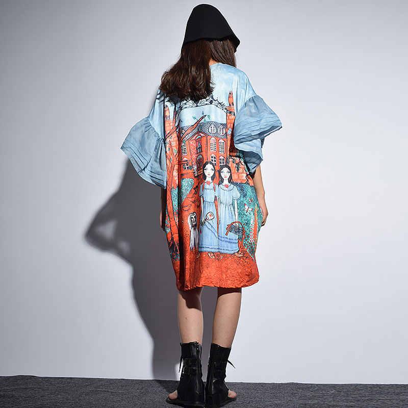 Xitao preppy 스타일 여름 미니 드레스 여성 o 목 만화 패턴 인쇄 플러스 크기 꽃잎 슬리브 드레스 여름 의류 새로운 kzh432