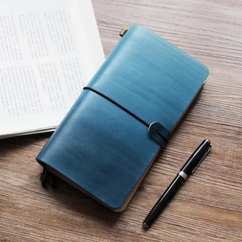 K&KBOOK Gradient Blue Genuine  Leather Travelers Notebook TN Diary Portable Planner Handmade journals Office School Supplies genuine leather notebook travelers journal agenda handmade planner notebooks diary caderno sketchbook school supplies