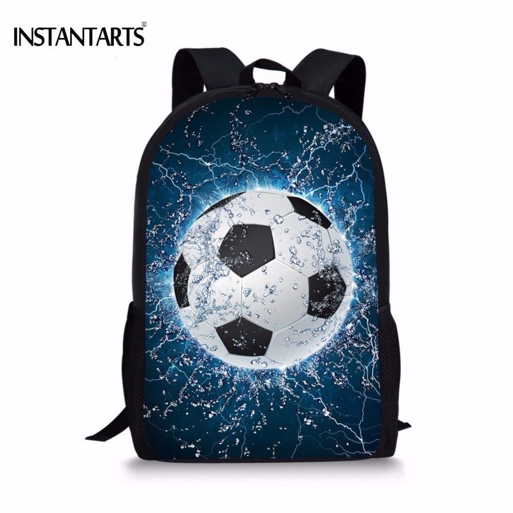 INSTANTARTS Cool 3D hielo Soccerly bola bolso de escuela de impresión para  adolescentes Casual libro bolsas de hombro niños libro bolsas mochila 5067c0816b1d