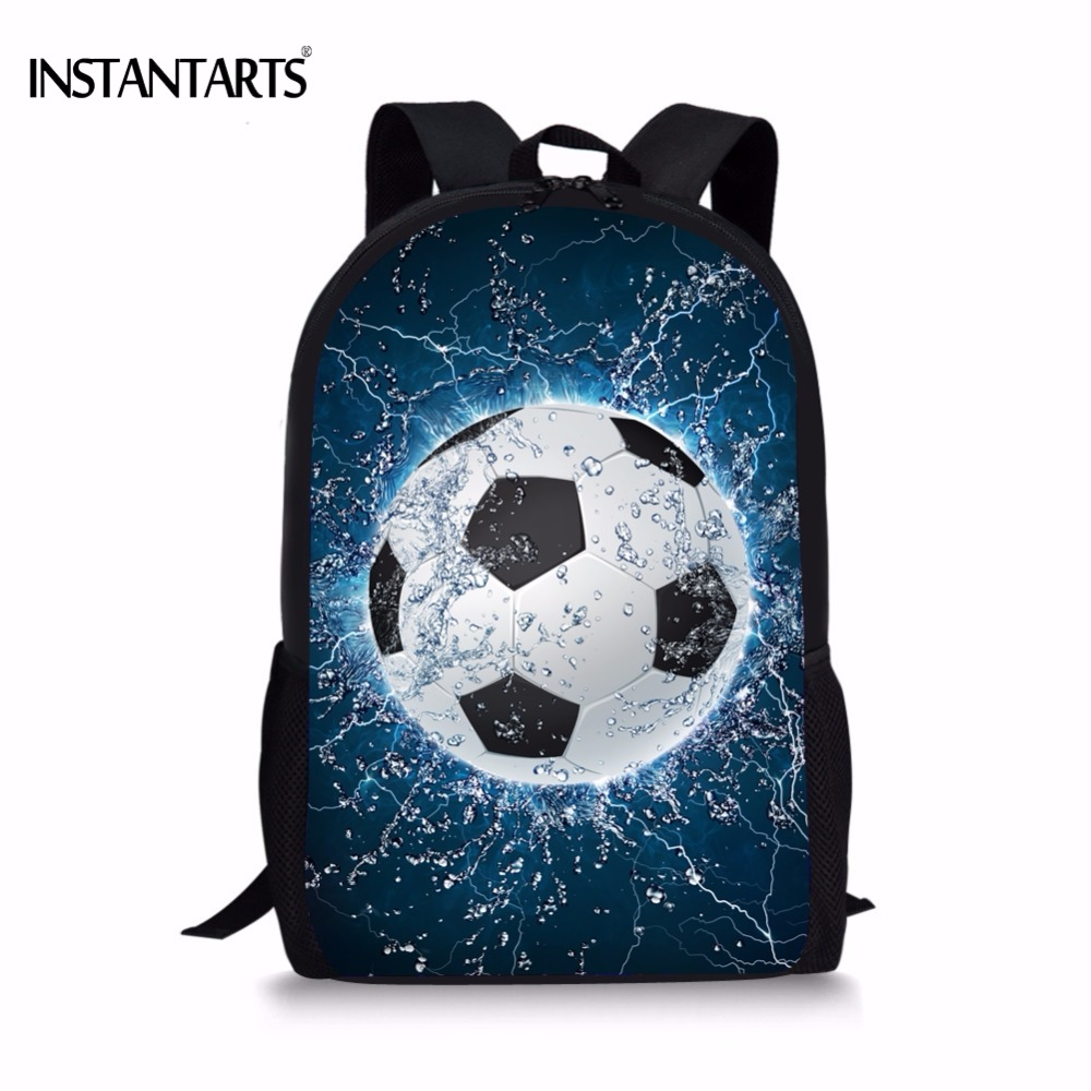 INSTANTARTS Cool 3D Ice Soccerly Ball Print School Bag for Teenager Boys Casual Book Shoulder Bags Children Book Bags Backpack pirates of the caribbean jack sparrow 3d print mens shoulder backpack skull heads student children school bags for boys book bag