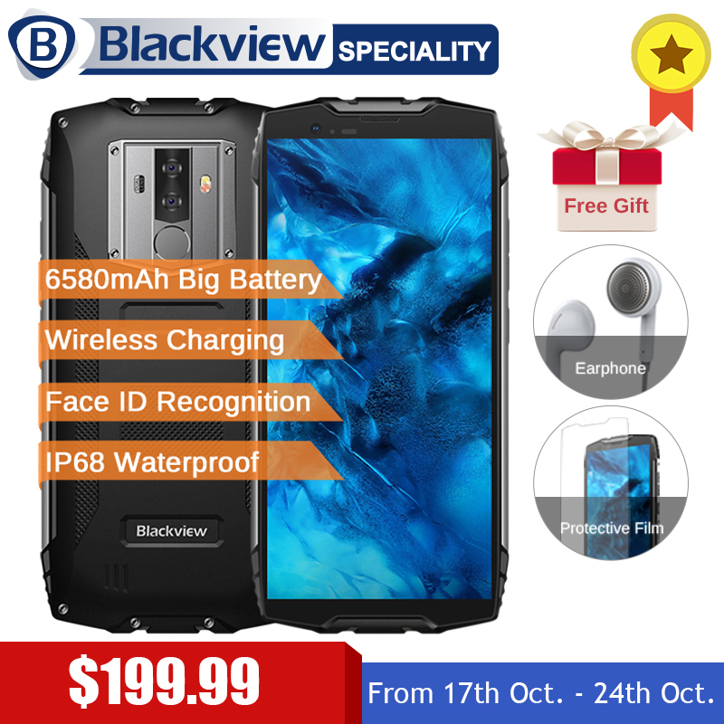 Blackview BV6800 Pro 5.7 Smartphone IP68 Étanche MT6750T Octa Core 4 gb + 64 gb 6580 mah Batterie Sans Fil charge NFC téléphone portable