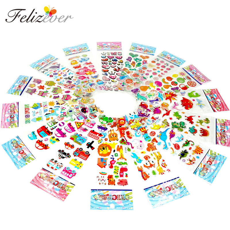 24 ark Kids Cartoon Novelty 3D Genanvendelige Puffy Stickers til Girl Kids Party Supplies Fødselsdag Favors Treat Bag Fillers