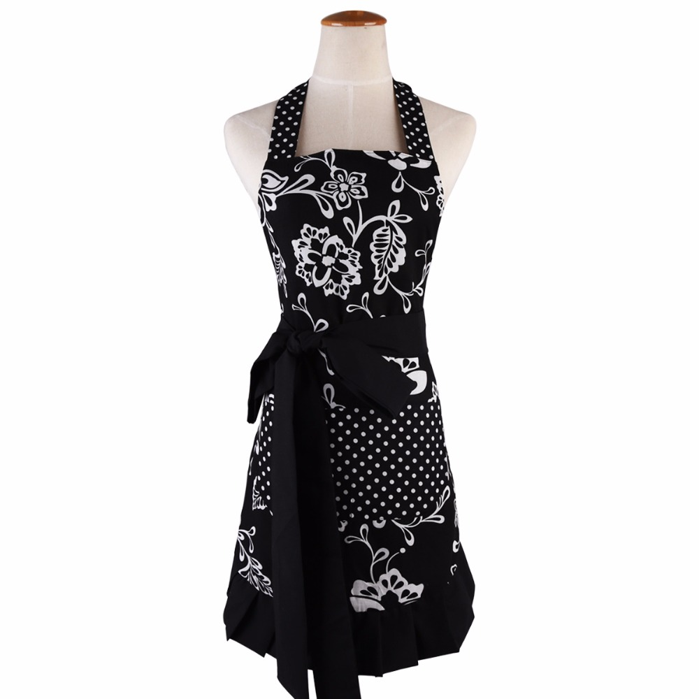 Black Kitchen Cooking Cotton Apron Elegant Sexy Women Fashion Evening Dress Apron Custom Printed Aprons Hot Sale Wholesale