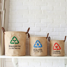 36*41CM Cotton Linen Portable Storage Basket Barrel 1PC Can stand Fold Laundry Clothing Hanging Basket of Toys