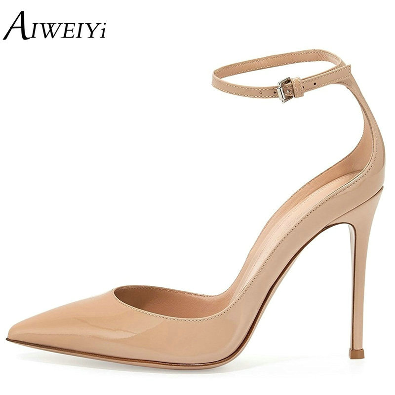 AIWEIYi High Heels Sexy Black Summer Shoes Women'S Pumps Pointed Toe Ankle Buckle Strap Ladies Wedding Party Shoes women pumps flock high heels shoes woman fashion 2017 summer leather casual shoes ladies pointed toe buckle strap high quality