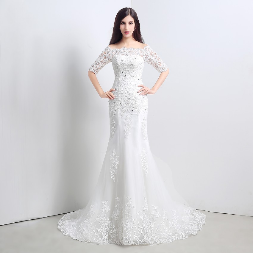 2015 आइवरी कोर्ट में आस्तीन - शादी के कपड़े