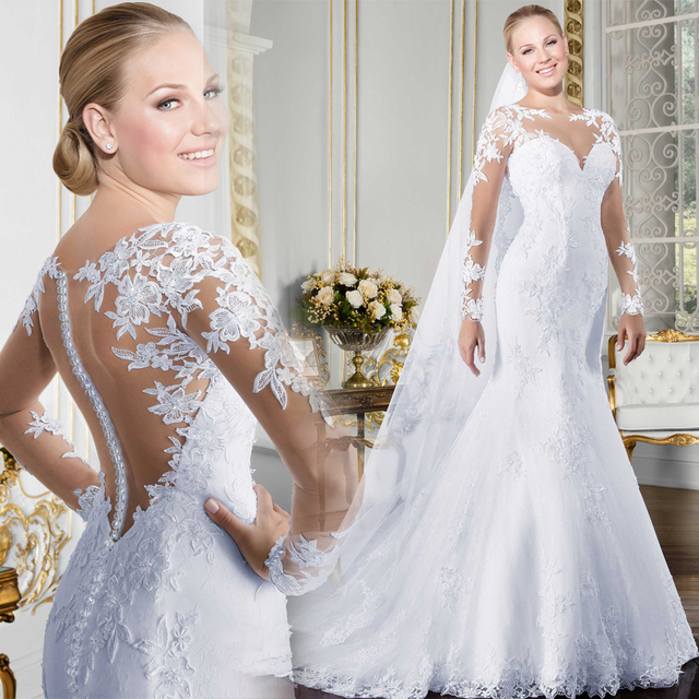 Sheer O-neck Long Sleeve Mermaid Wedding Dress 2019 See Through Illusion Back White Bridal Gowns with Lace Appliques 1