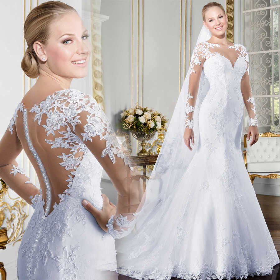 Sheer O-neck Long Sleeve Mermaid Wedding Dress 2019 See Through Illusion Back White Bridal Gowns with Lace Appliques