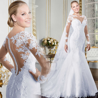 Sheer O neck Long Sleeve Mermaid Wedding Dress 2019 See Through Illusion Back White Bridal Gowns with Lace Appliques