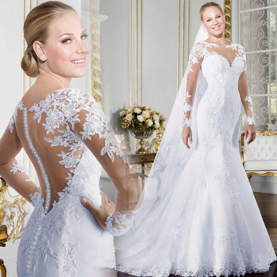 Transparent o-cou à manches longues robe de mariée sirène 2019 voir à travers Illusion dos blanc robes de mariée avec Appliques de dentelle