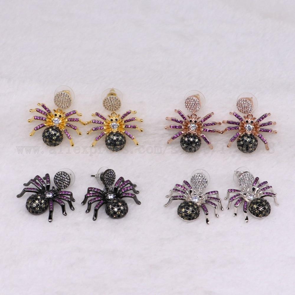 3 пары яд паук Серьги красочные насекомые Fly Би высокое качество подарок для леди насекомых Серьги ошибок Jewelry Серьги 3239