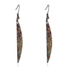Women Fashion Bronze Earring Long Drop Earrings Personality Retro Leaf Shape Bohemian Rhinestone Jewelry