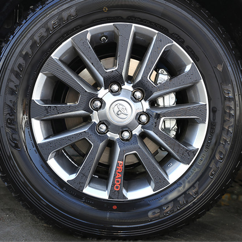 4PCS (265/60 R18) CARBON FIBER VINYL WHEEL RIM DECAL BODY STICKERS FOR TOYOTA LAND CRUISER PRADO 2018 ACCESSORIES CAR STYLING