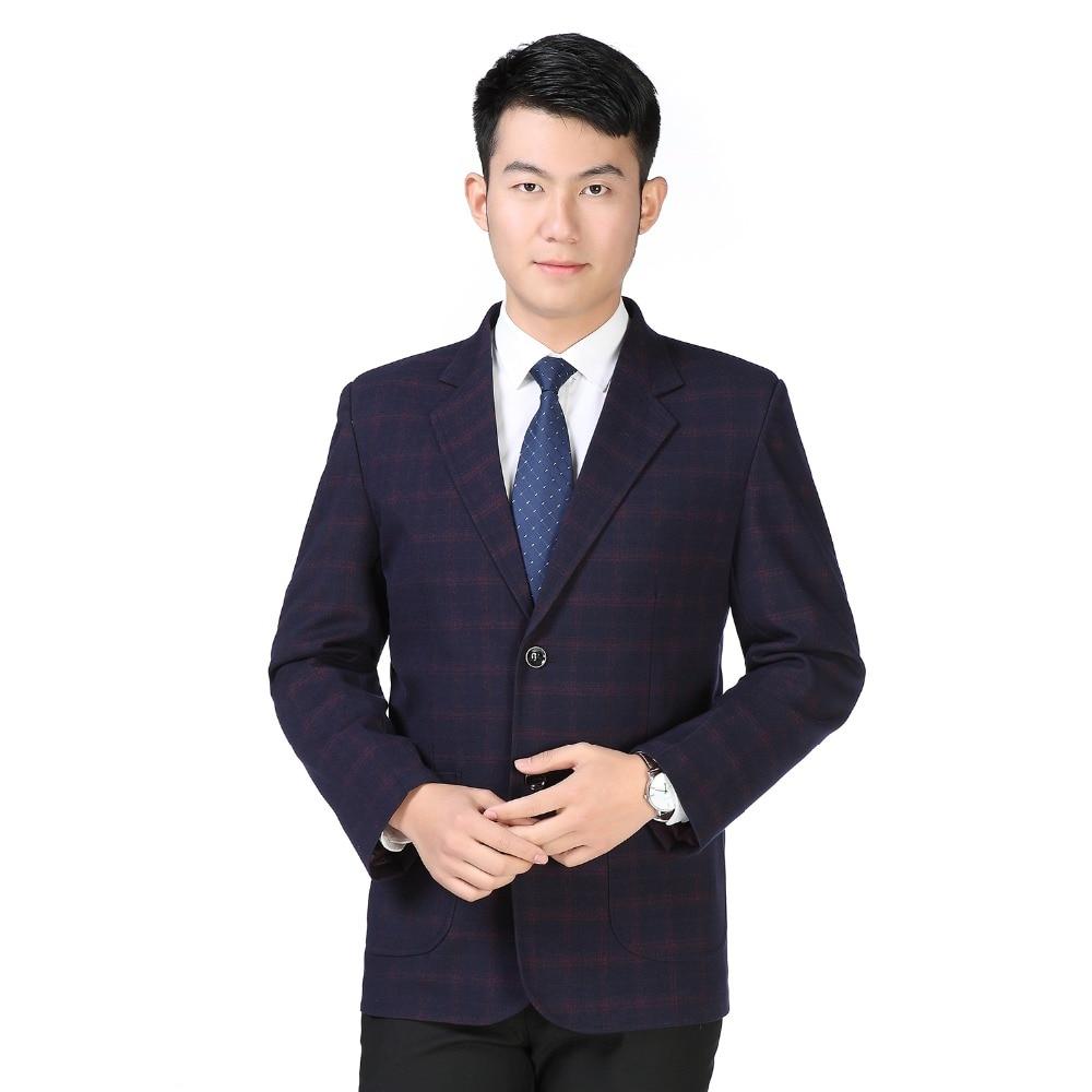 WEAOLSA Men Classical Blazers Red Blue Plaid Jackets Suits Man Blazer Check Pattern Suit Jacket Male Notched Collar Blazer Suit