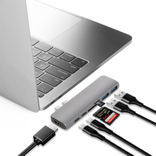 USB 3.1 Type-C Hub To HDMI Adapter 4K Thunderbolt 3 USB C Hub with Hub 3.0 TF SD Reader Slot PD for MacBook Pro/Air 2018 goojodoq usb c hub hdmi 4k usb c hdmi adapter combo dock with usb 3 0 sd slot micro sd card reader for macbook pro type c hub