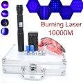 Самая мощная лазерная указка 450нм 10000 м фокусируемая Синяя лазерная указка фонарик сжечь спичку свеча горит сигарета