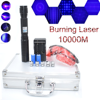Most Powerful Burning Laser pointer Torch 450nm 10000m Focusable Blue Laser Pointers Flashlight burn match candle lit cigarette