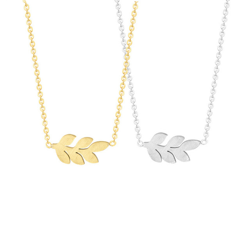 Ethnic Jewelry Plant Feather Laurel Leaves Olive Leaf Branch Necklace for Women Stainless Steel Gold Silver Chain Bijoux Femme