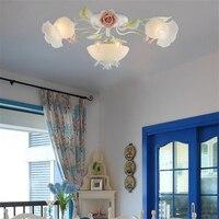מתכת לבנה פרח קרמיקה מודרני אור תקרת ילדי תאורה הביתה מקורה, חדר אוכל מטבח חדר שינה מנורת LED platfond Moderne