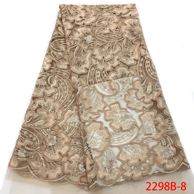 Gold African Lace Fabric 2019 French Tulle Sequince Embroidery Lace Fabric Nigerian Net Lace With Sequin