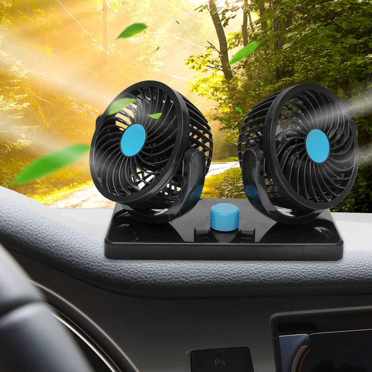 12V Car Mini Electric Fan 2 Head 360 Degree Rotating Low Noise Summer Conditioner Portable Adjustable Car Air Cooling Fan 12v car mini portable suction cup air fan 360 rotating strong wind cooler power by cigarette lighter socket car air condition