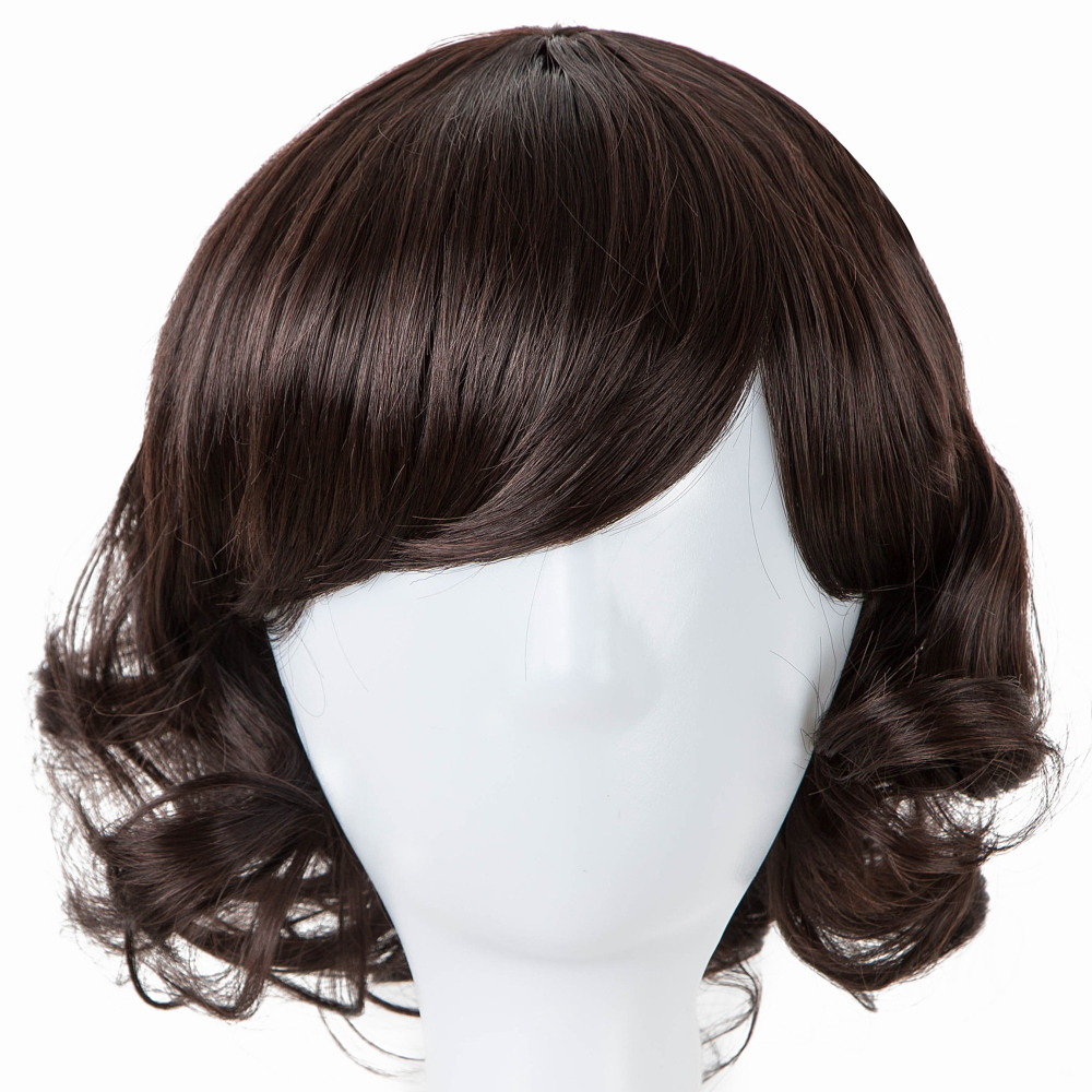 Fei-show Inclined Bangs Hair Synthetic Heat Resistance Fiber Dark Brown Short Curly Children Wigs For 50cm Head Circumference Latest Technology Hair Extensions & Wigs
