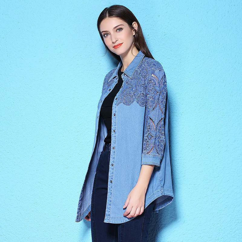 Summer and Autumn women blouse long three quarter sleeve denim shirt lace holllow out big size