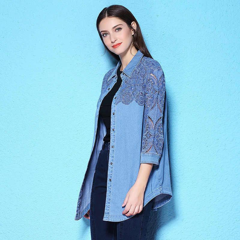 Sommer und Herbst frauen bluse lange hülse mit drei vierteln denim hemd spitze holllow out big size frauen denim hemd NW17C1184