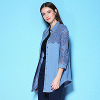Summer and Autumn women blouse long three quarter sleeve denim shirt lace holllow out big size women's denim shirt NW17C1184